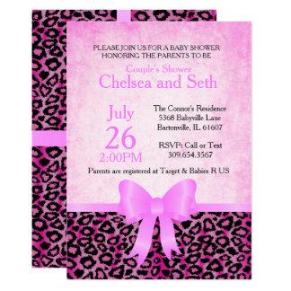Douche animale de bébé du rose | du chat Pattern| Carton D'invitation 12,7 Cm X 17,78 Cm