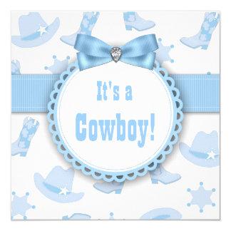 Douche bleue de bébé de cowboy carton d'invitation  13,33 cm