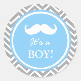 Douche de bébé de chevron de moustache autocollants