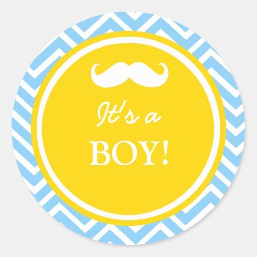Douche de bébé de chevron de moustache adhésifs ronds