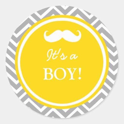 Douche de bébé de chevron de moustache autocollants ronds