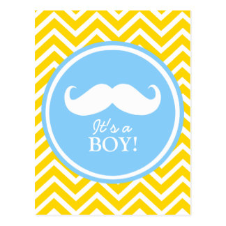 Douche de bébé de chevron de moustache carte postale
