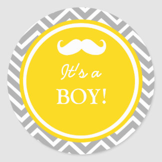 Douche de bébé de chevron de moustache sticker rond