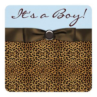 Douche de bébé de léopard carton d'invitation  13,33 cm