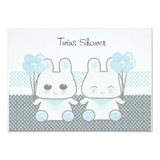 Douche de jumeaux carton d'invitation  12,7 cm x 17,78 cm