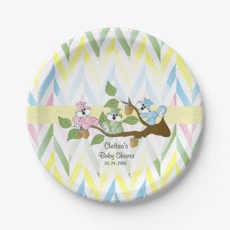 Douche en pastel de bébé d'écureuil assiettes en papier