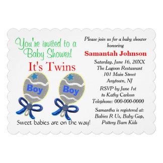 Douche jumelle de hochets d'étoile bleue de faire-part personnalisé