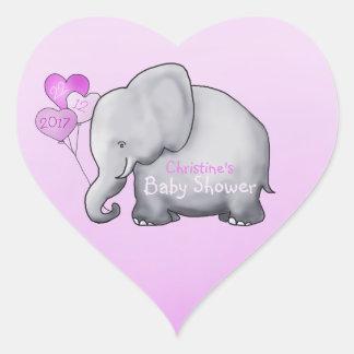 Douche magnifique de bébé de rose d'éléphant de sticker cœur