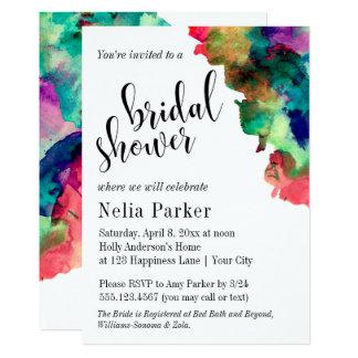 Douche nuptiale 1 d'aquarelle colorée moderne carton d'invitation  12,7 cm x 17,78 cm