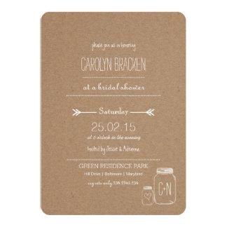 Douche nuptiale 2 de coeur rustique de Leaves| Carton D'invitation 12,7 Cm X 17,78 Cm
