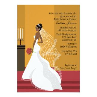 Douche nuptiale afro-américaine Inv de jeune Carton D'invitation 12,7 Cm X 17,78 Cm