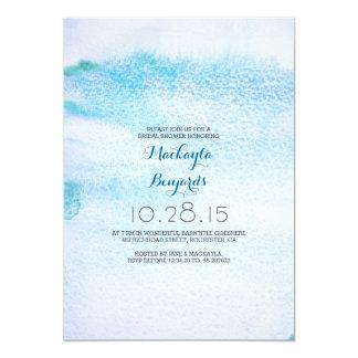 Douche nuptiale bleue d'Ombre d'aquarelle Carton D'invitation 12,7 Cm X 17,78 Cm