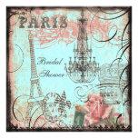 Douche nuptiale chic de Tour Eiffel et de lustre Faire-parts