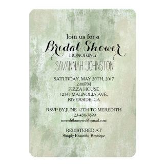 Douche nuptiale d'abrégé sur crème vert sable de carton d'invitation  12,7 cm x 17,78 cm