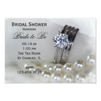 Douche nuptiale d'anneaux et de perles de noces de carton d'invitation  12,7 cm x 17,78 cm