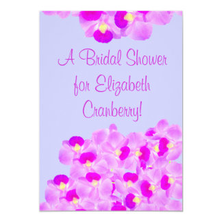 Douche nuptiale de bouquet rose d'orchidée cartons d'invitation