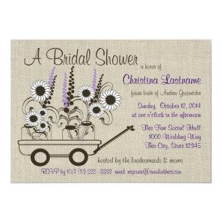 Douche nuptiale de chariot de pays carton d'invitation  12,7 cm x 17,78 cm