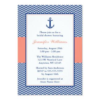 Douche nuptiale de corail bleue d'ancre nautique carton d'invitation  12,7 cm x 17,78 cm