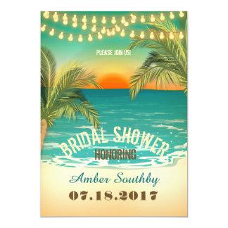 Douche nuptiale de coucher du soleil de plage carton d'invitation  12,7 cm x 17,78 cm