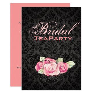Douche nuptiale de damassé de rose noir gothique carton d'invitation  12,7 cm x 17,78 cm