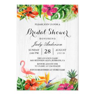 Douche nuptiale de flamant en bois rustique floral carton d'invitation  12,7 cm x 17,78 cm
