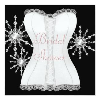 Douche nuptiale de flocons de neige blancs noirs carton d'invitation  13,33 cm