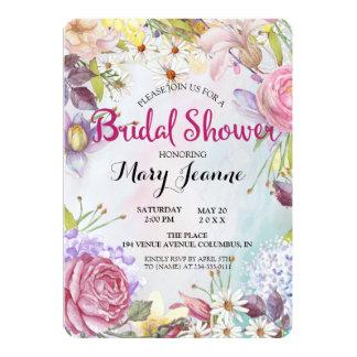 Douche nuptiale de groupes floraux carton d'invitation  12,7 cm x 17,78 cm