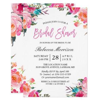 Douche nuptiale de guirlande botanique florale carton d'invitation  12,7 cm x 17,78 cm