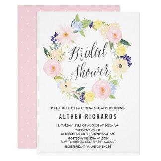 Douche nuptiale de guirlande florale en pastel carton d'invitation  12,7 cm x 17,78 cm