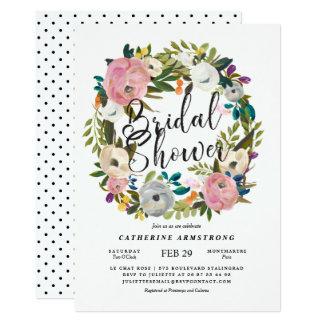 Douche nuptiale de guirlande florale rustique carton d'invitation  12,7 cm x 17,78 cm