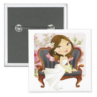 Douche nuptiale de jeune mariée mignonne de bande  badge carré 5 cm