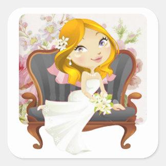 Douche nuptiale de jeune mariée mignonne de bande sticker carré