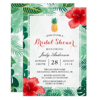 Douche nuptiale de ketmie hawaïenne tropicale carton d'invitation  12,7 cm x 17,78 cm