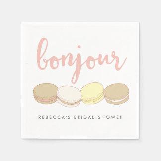 Douche nuptiale de Macarons de Français de Bonjour Serviettes En Papier