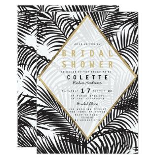 Douche nuptiale de palmier noir moderne d'or blanc carton d'invitation  12,7 cm x 17,78 cm