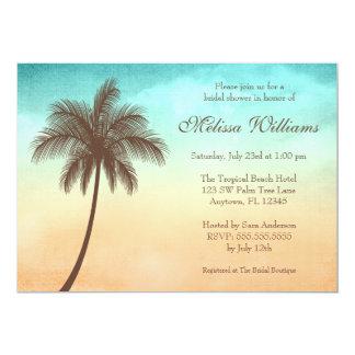 Douche nuptiale de palmier tropical de plage carton d'invitation  12,7 cm x 17,78 cm