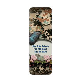 Douche nuptiale de Paris de papillon botanique de Étiquette D'adresse Retour