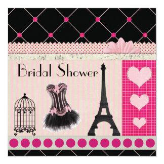 Douche nuptiale de Paris de rose chic de Tour Carton D'invitation 13,33 Cm