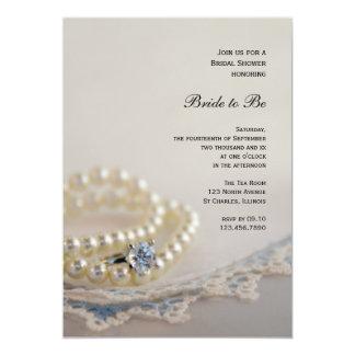 Douche nuptiale de perles, d'anneau et de dentelle carton d'invitation  12,7 cm x 17,78 cm