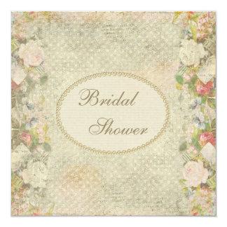 Douche nuptiale de perles et de fleurs chics carton d'invitation  13,33 cm