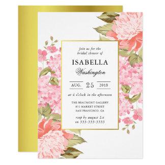 Douche nuptiale de pivoines et d'hortensias de carton d'invitation  12,7 cm x 17,78 cm