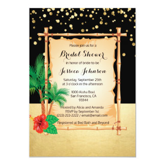 Douche nuptiale de plage d'or noir tropical de carton d'invitation  12,7 cm x 17,78 cm