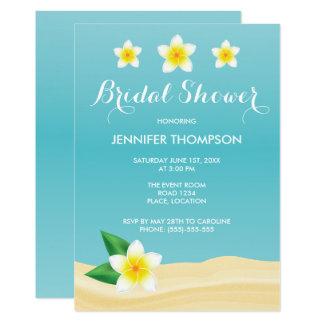 Douche nuptiale de plage tropicale blanche de carton d'invitation  12,7 cm x 17,78 cm