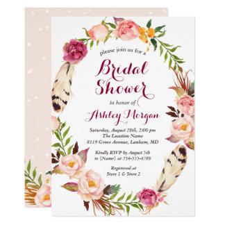 Douche nuptiale de plume de guirlande florale de carton d'invitation  12,7 cm x 17,78 cm