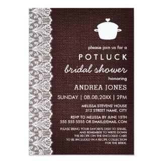 Douche nuptiale de Potluck de toile de jute et de Carton D'invitation 12,7 Cm X 17,78 Cm