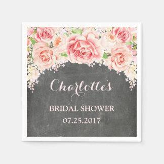 Douche nuptiale de tableau floral rose d'aquarelle serviette jetable