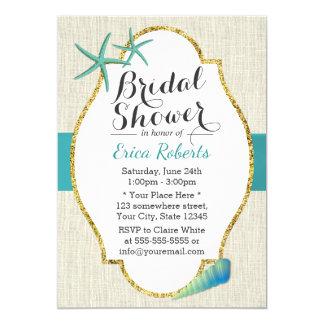 Douche nuptiale de turquoise de coquillages carton d'invitation  12,7 cm x 17,78 cm