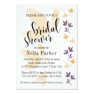 Douche nuptiale de typographie de feuille d'orange carton d'invitation  12,7 cm x 17,78 cm