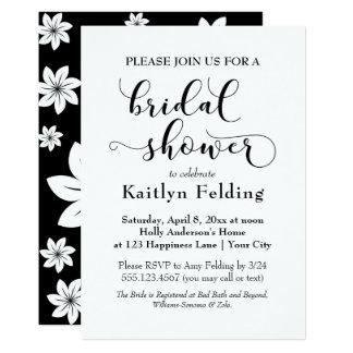 Douche nuptiale de typographie florale noire et carton d'invitation  12,7 cm x 17,78 cm
