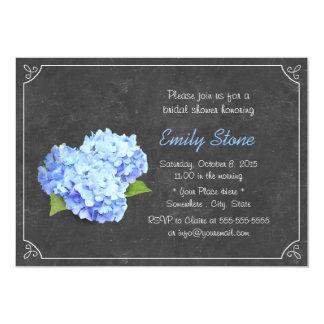 Douche nuptiale d'hortensia bleu vintage de carton d'invitation  12,7 cm x 17,78 cm